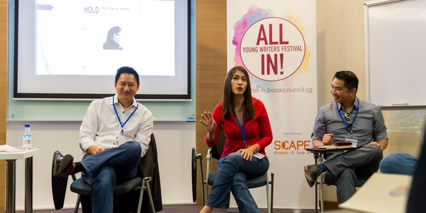 Seasoned journalists Steven Chia, Dawn Tan and Timothy Go at the panel session on broadcast journalism. (photo by Ben Chia)